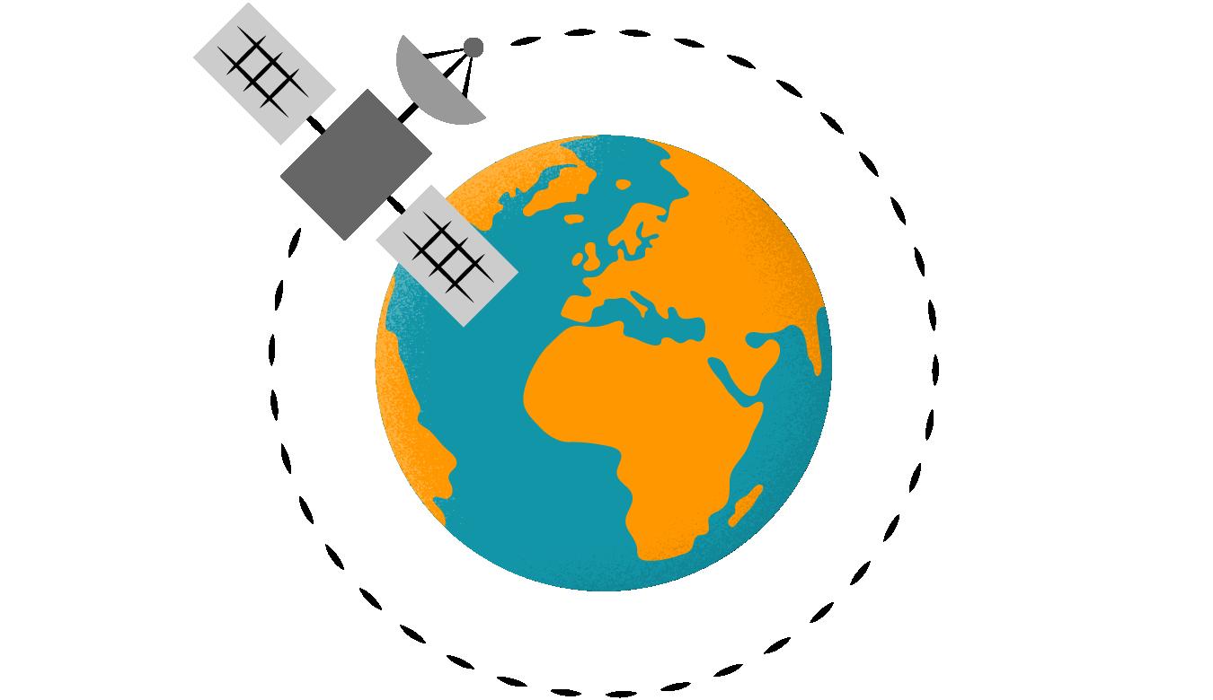 En satellit i omlopp kring jorden.