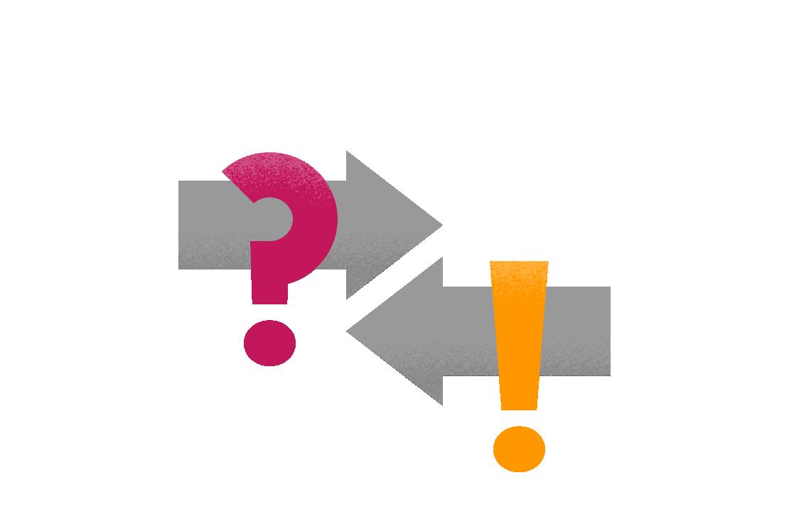 Två pilar som pekar mot varandra, en med ett frågetecken på och en med ett utropstecken.