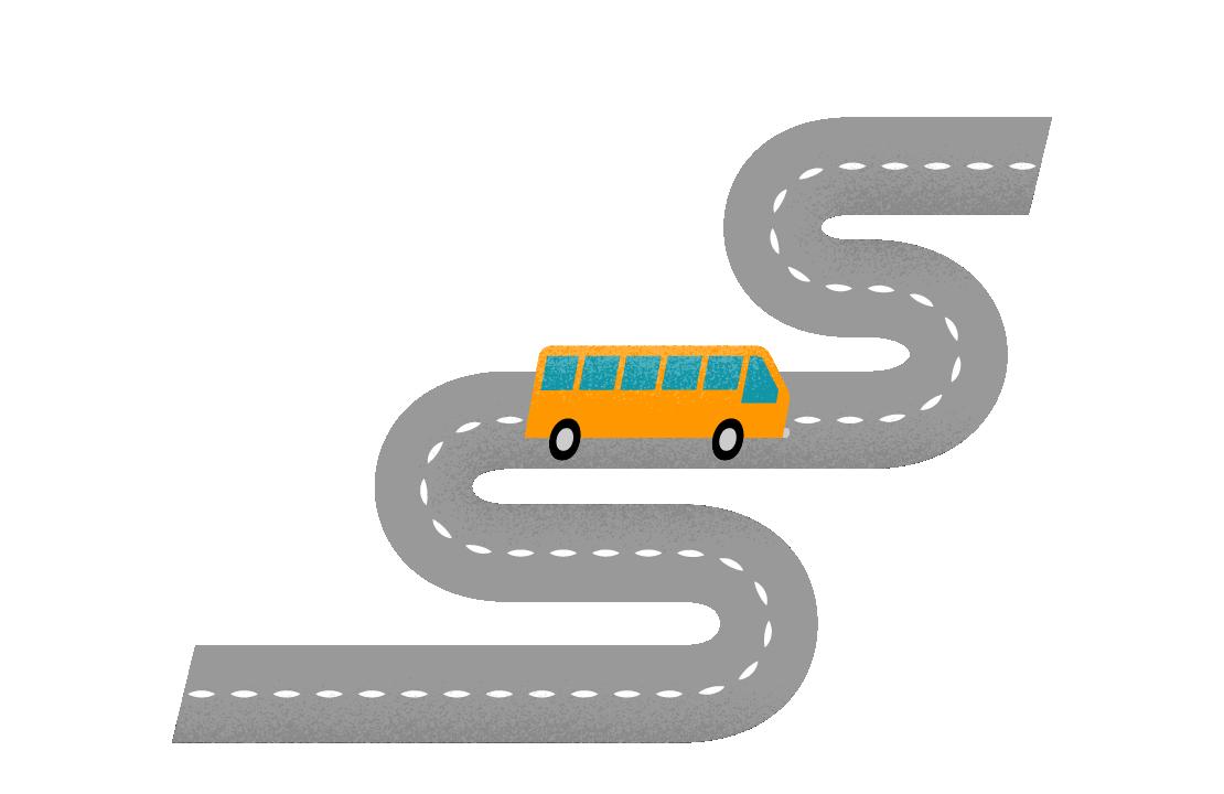 En gul buss på en slingrande väg.